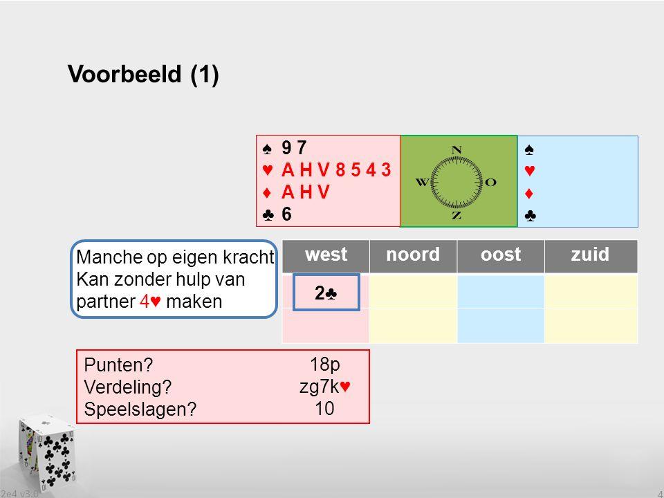 2e4 v3.0 15 De biedserie 2♣-2♦-2SA (3) westnoordoostzuid 2♣2♣pas 2♦2♦ 2SApas .