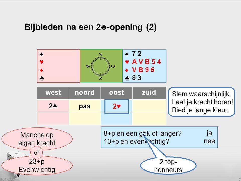 2e4 v3.0 18 2♣ is het sterkste openingsbod: - voldoende speelslagen voor de manche op eigen krachten of - 23+p enevenwichtig spel.