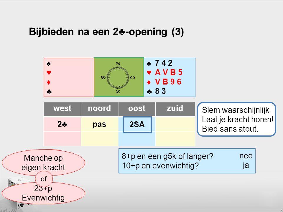 2e4 v3.0 8 Bijbieden na een 2♣-opening (3) westnoordoostzuid 2♣2♣pas .