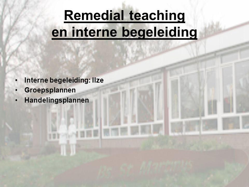 Remedial teaching en interne begeleiding Interne begeleiding: Ilze Groepsplannen Handelingsplannen