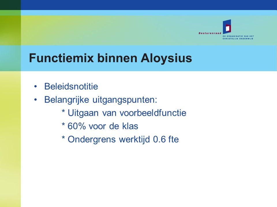 Functiemix binnen Aloysius Beleidsnotitie Belangrijke uitgangspunten: * Uitgaan van voorbeeldfunctie * 60% voor de klas * Ondergrens werktijd 0.6 fte