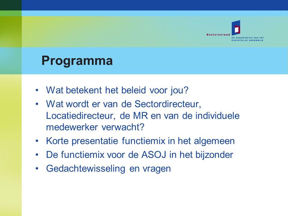 Programma Wat betekent het beleid voor jou? Wat wordt er van de Sectordirecteur, Locatiedirecteur, de MR en van de individuele medewerker verwacht? Ko