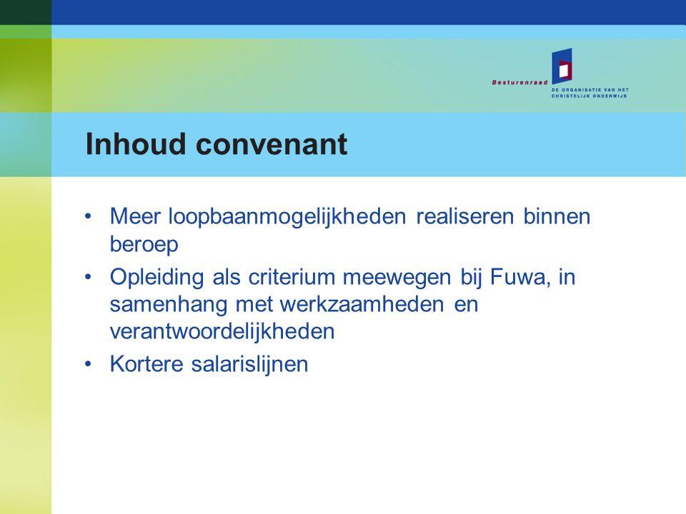 Inhoud convenant Meer loopbaanmogelijkheden realiseren binnen beroep Opleiding als criterium meewegen bij Fuwa, in samenhang met werkzaamheden en vera