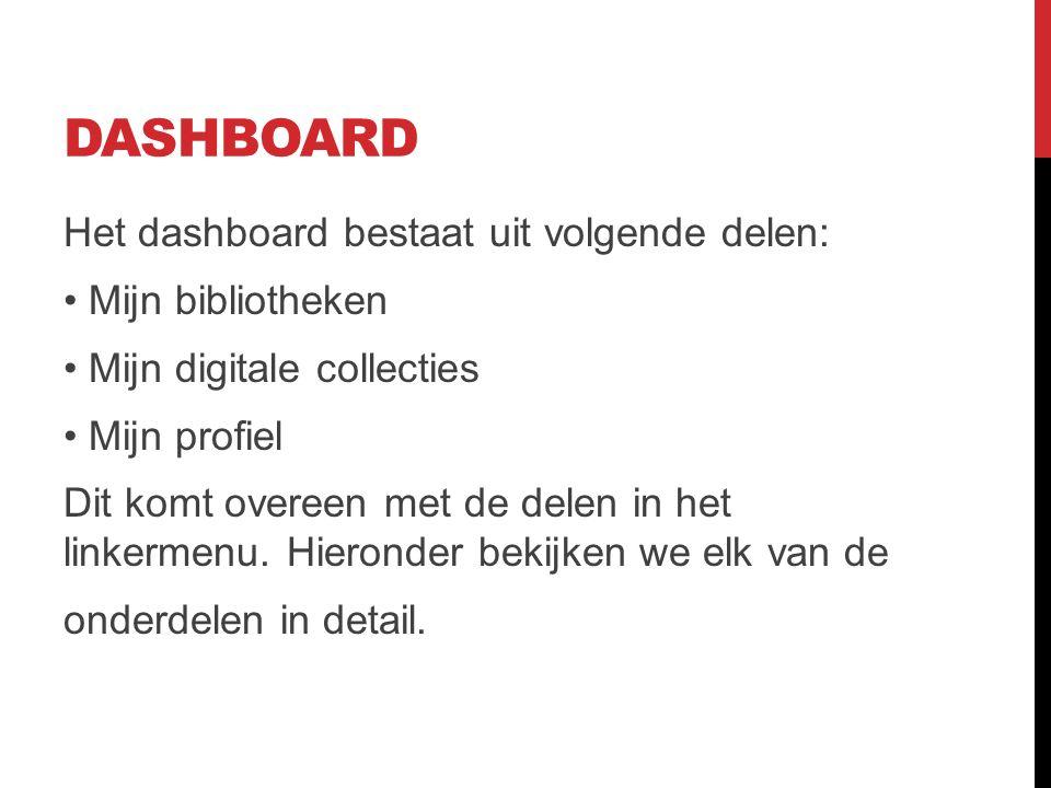DASHBOARD Het dashboard bestaat uit volgende delen: Mijn bibliotheken Mijn digitale collecties Mijn profiel Dit komt overeen met de delen in het linkermenu.