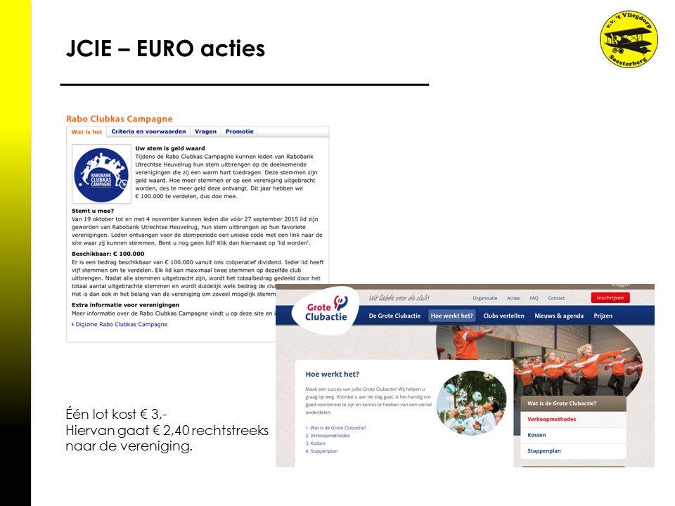 JCIE – EURO acties Één lot kost € 3,- Hiervan gaat € 2,40 rechtstreeks naar de vereniging.