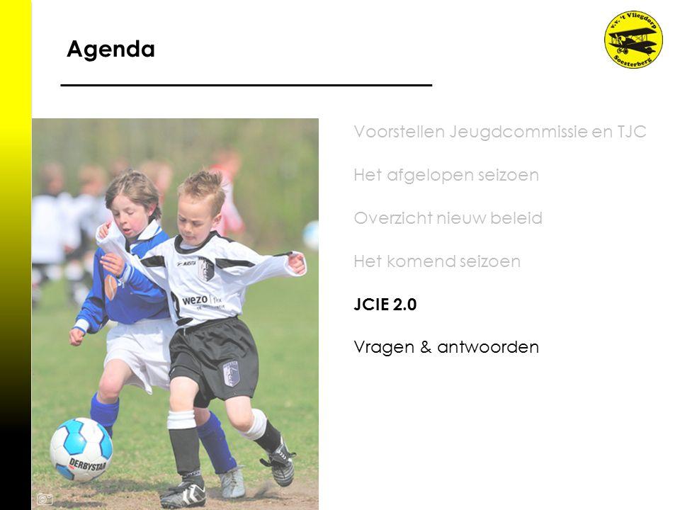 Agenda Voorstellen Jeugdcommissie en TJC Het afgelopen seizoen Overzicht nieuw beleid Het komend seizoen JCIE 2.0 Vragen & antwoorden