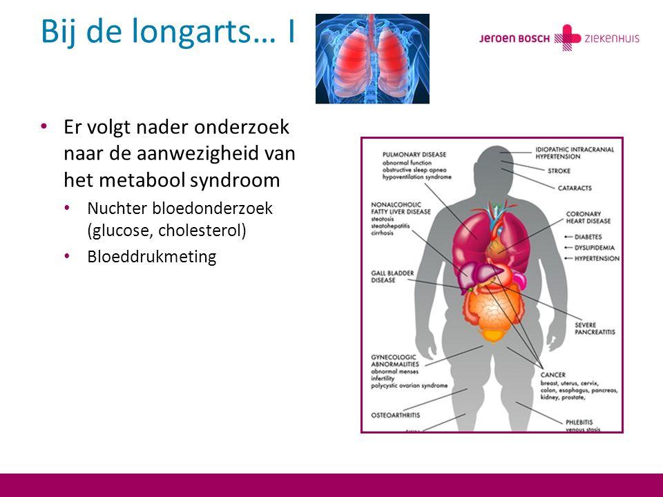 Bij de longarts… I Er volgt nader onderzoek naar de aanwezigheid van het metabool syndroom Nuchter bloedonderzoek (glucose, cholesterol) Bloeddrukmeting