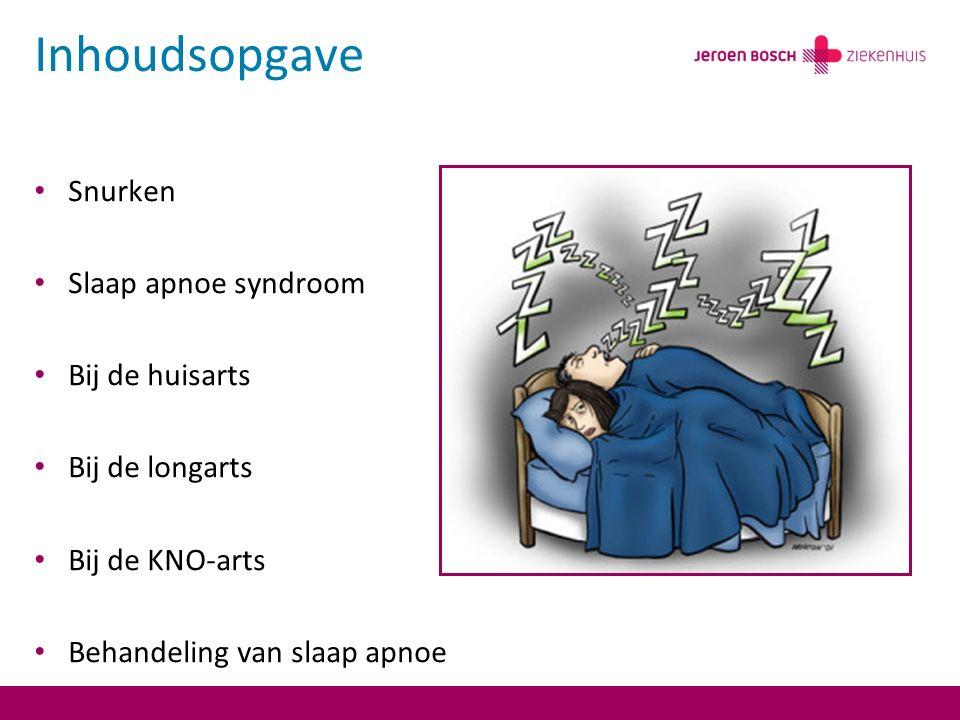 Inhoudsopgave Snurken Slaap apnoe syndroom Bij de huisarts Bij de longarts Bij de KNO-arts Behandeling van slaap apnoe