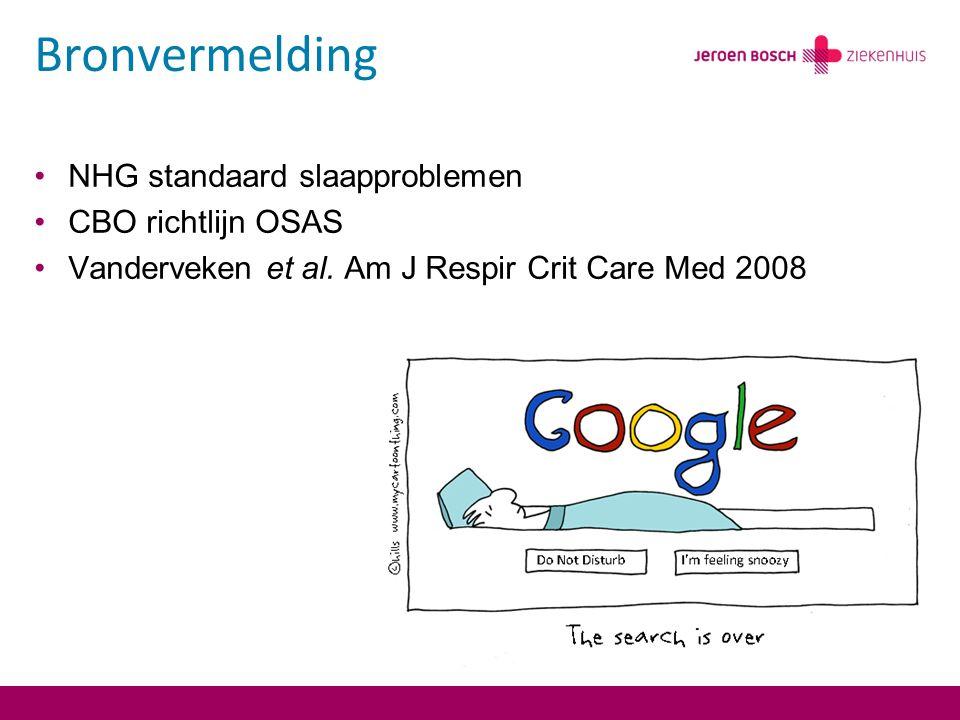 Bronvermelding NHG standaard slaapproblemen CBO richtlijn OSAS Vanderveken et al.