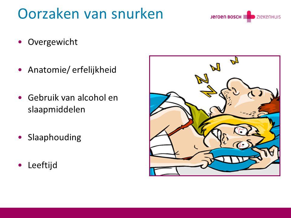 Oorzaken van snurken Overgewicht Anatomie/ erfelijkheid Gebruik van alcohol en slaapmiddelen Slaaphouding Leeftijd