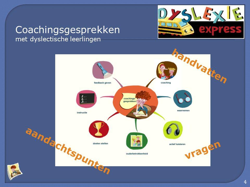 4 handvatten aandachtspunten vragen Coachingsgesprekken met dyslectische leerlingen