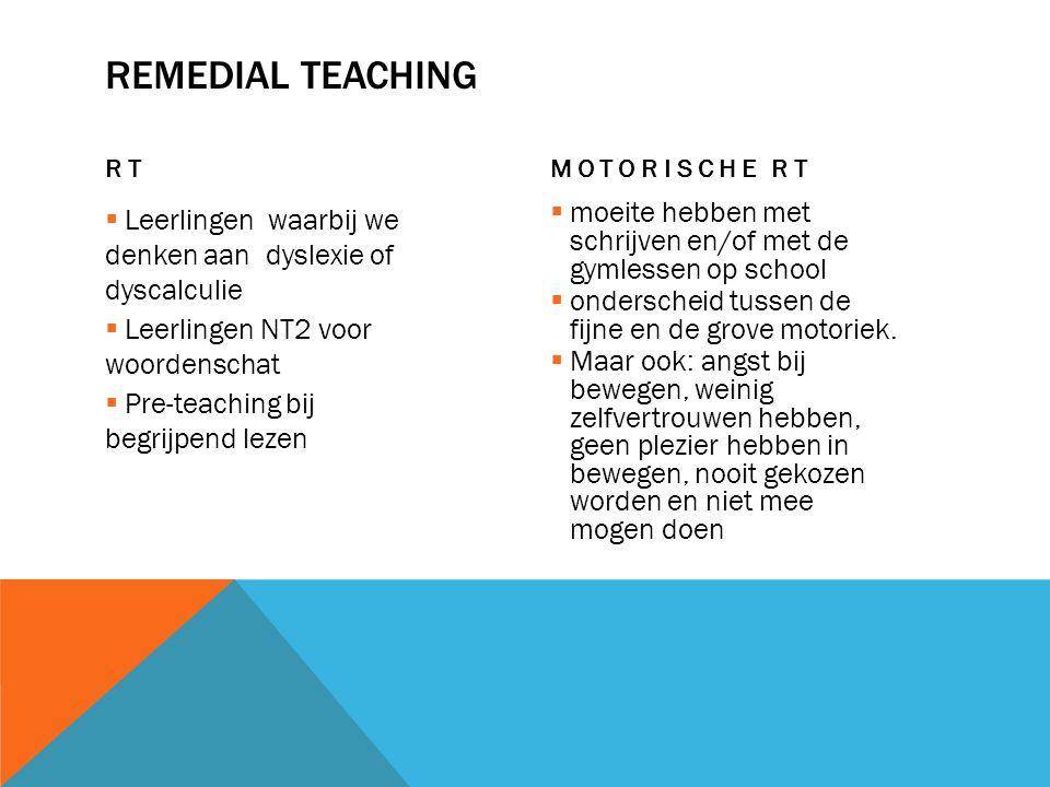 REMEDIAL TEACHING RT  Leerlingen waarbij we denken aan dyslexie of dyscalculie  Leerlingen NT2 voor woordenschat  Pre-teaching bij begrijpend lezen