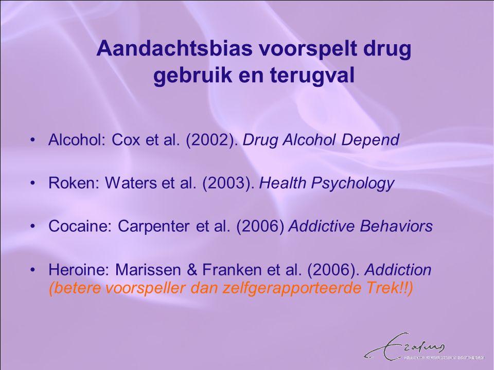Alcohol: Cox et al. (2002). Drug Alcohol Depend Roken: Waters et al. (2003). Health Psychology Cocaine: Carpenter et al. (2006) Addictive Behaviors He
