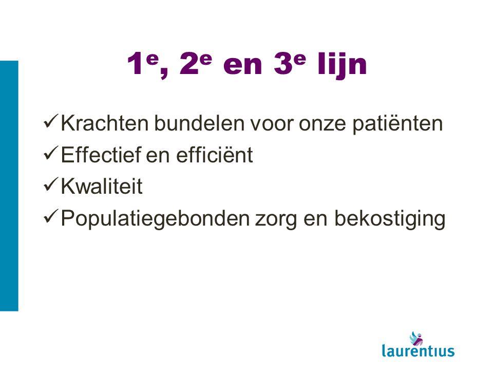 1 e, 2 e en 3 e lijn Krachten bundelen voor onze patiënten Effectief en efficiënt Kwaliteit Populatiegebonden zorg en bekostiging
