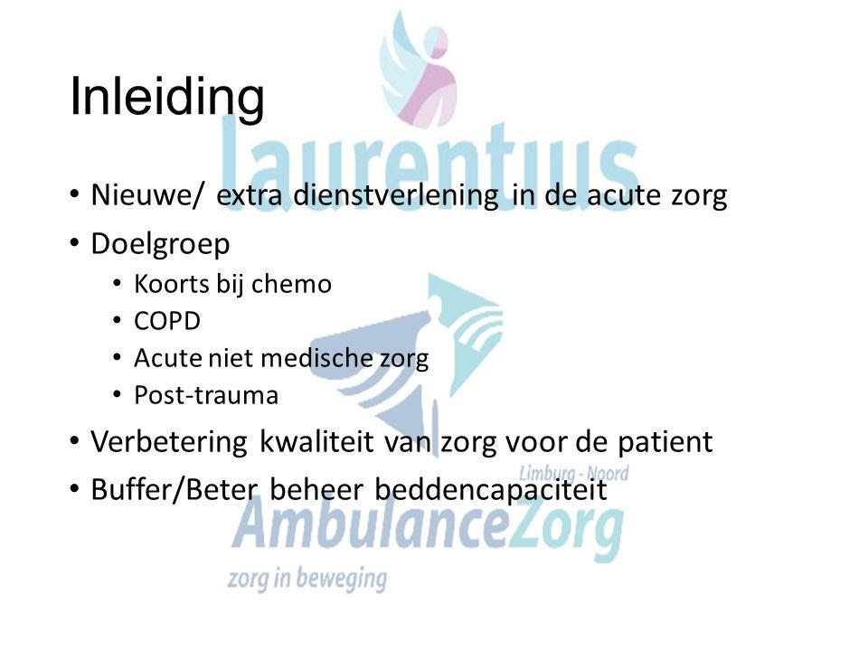 Inleiding Nieuwe/ extra dienstverlening in de acute zorg Doelgroep Koorts bij chemo COPD Acute niet medische zorg Post-trauma Verbetering kwaliteit van zorg voor de patient Buffer/Beter beheer beddencapaciteit