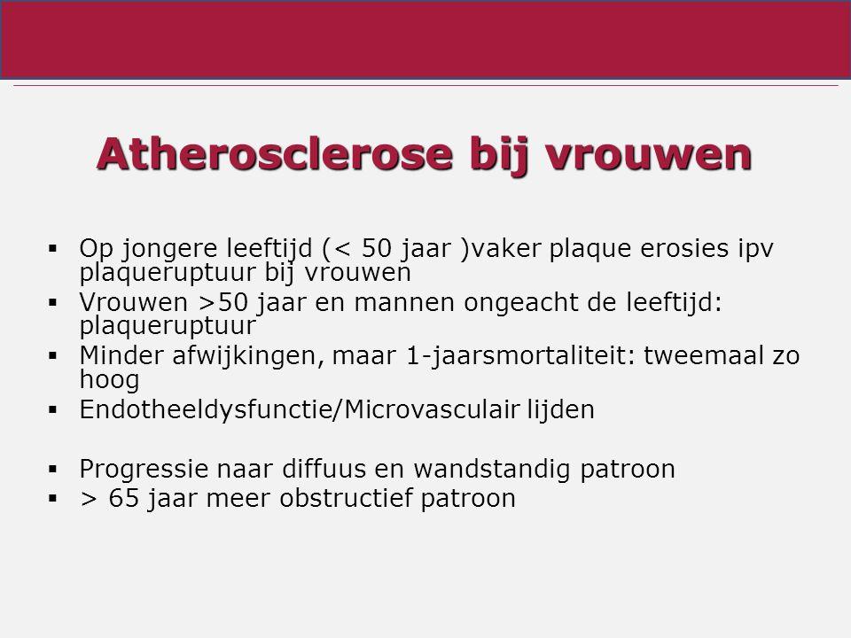 Atherosclerose bij vrouwen  Op jongere leeftijd (< 50 jaar )vaker plaque erosies ipv plaqueruptuur bij vrouwen  Vrouwen >50 jaar en mannen ongeacht de leeftijd: plaqueruptuur  Minder afwijkingen, maar 1-jaarsmortaliteit: tweemaal zo hoog  Endotheeldysfunctie/Microvasculair lijden  Progressie naar diffuus en wandstandig patroon  > 65 jaar meer obstructief patroon