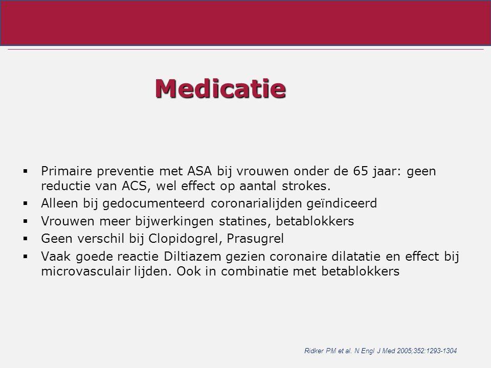Medicatie  Primaire preventie met ASA bij vrouwen onder de 65 jaar: geen reductie van ACS, wel effect op aantal strokes.  Alleen bij gedocumenteerd