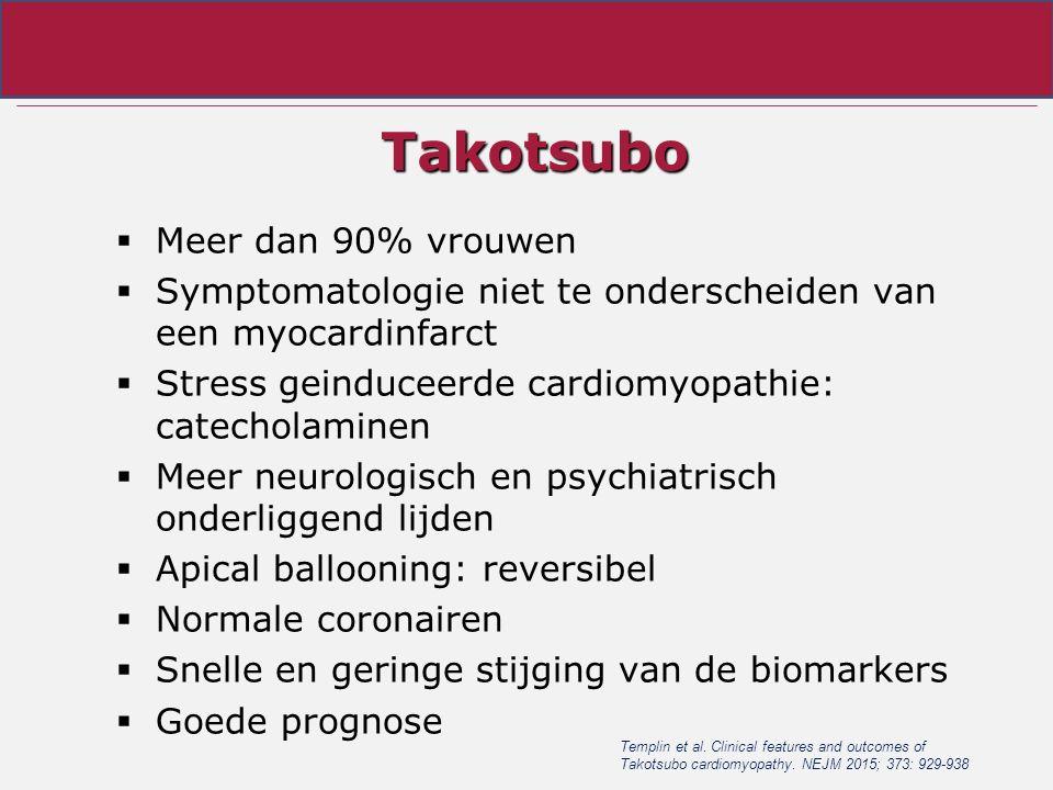 Takotsubo  Meer dan 90% vrouwen  Symptomatologie niet te onderscheiden van een myocardinfarct  Stress geinduceerde cardiomyopathie: catecholaminen  Meer neurologisch en psychiatrisch onderliggend lijden  Apical ballooning: reversibel  Normale coronairen  Snelle en geringe stijging van de biomarkers  Goede prognose Templin et al.