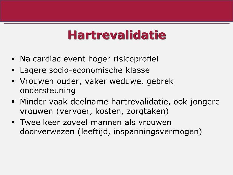 Hartrevalidatie  Na cardiac event hoger risicoprofiel  Lagere socio-economische klasse  Vrouwen ouder, vaker weduwe, gebrek ondersteuning  Minder
