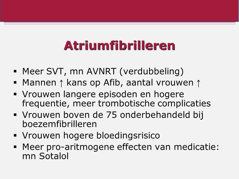 Atriumfibrilleren  Meer SVT, mn AVNRT (verdubbeling)  Mannen ↑ kans op Afib, aantal vrouwen ↑  Vrouwen langere episoden en hogere frequentie, meer