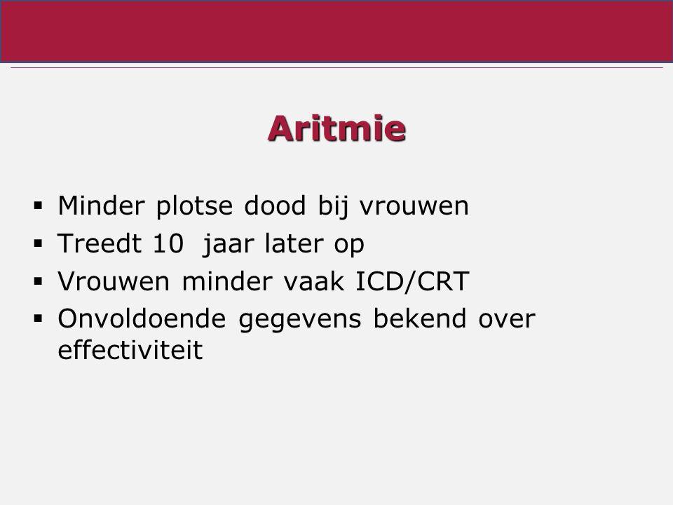 Aritmie  Minder plotse dood bij vrouwen  Treedt 10 jaar later op  Vrouwen minder vaak ICD/CRT  Onvoldoende gegevens bekend over effectiviteit