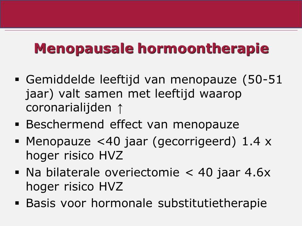 Menopausale hormoontherapie  Gemiddelde leeftijd van menopauze (50-51 jaar) valt samen met leeftijd waarop coronarialijden ↑  Beschermend effect van menopauze  Menopauze <40 jaar (gecorrigeerd) 1.4 x hoger risico HVZ  Na bilaterale overiectomie < 40 jaar 4.6x hoger risico HVZ  Basis voor hormonale substitutietherapie