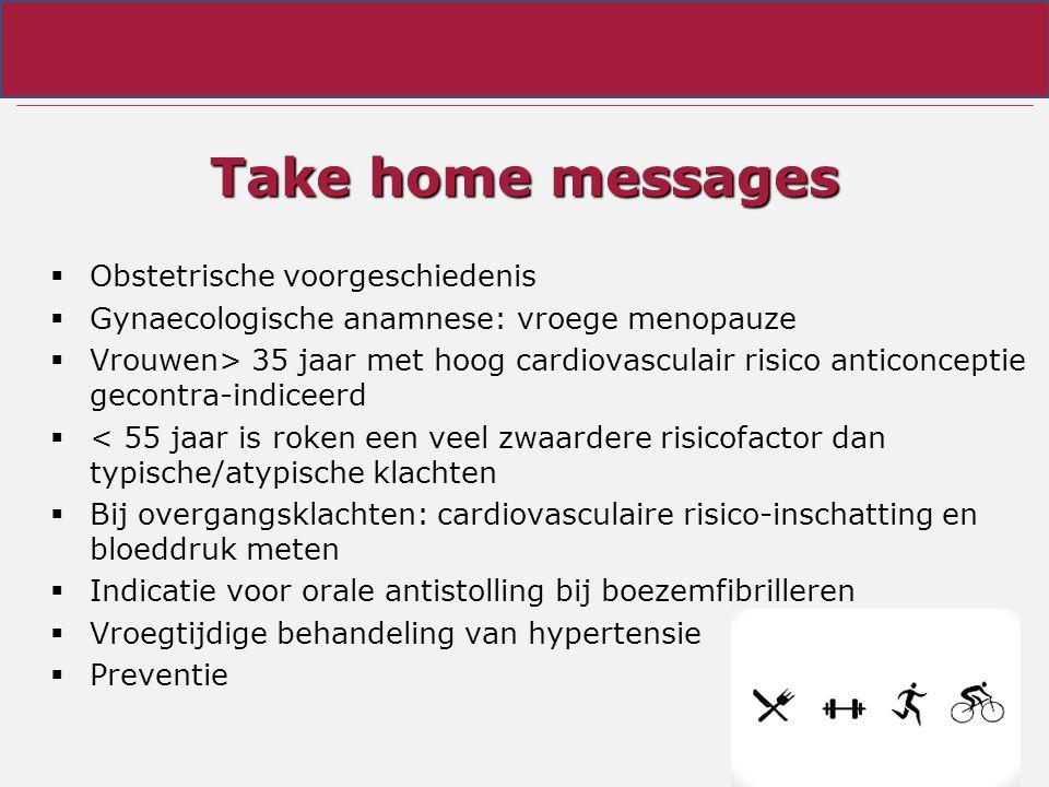 Take home messages  Obstetrische voorgeschiedenis  Gynaecologische anamnese: vroege menopauze  Vrouwen> 35 jaar met hoog cardiovasculair risico anticonceptie gecontra-indiceerd  < 55 jaar is roken een veel zwaardere risicofactor dan typische/atypische klachten  Bij overgangsklachten: cardiovasculaire risico-inschatting en bloeddruk meten  Indicatie voor orale antistolling bij boezemfibrilleren  Vroegtijdige behandeling van hypertensie  Preventie