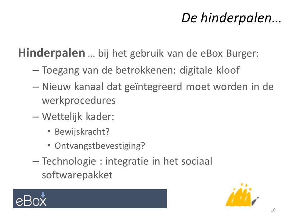 De hinderpalen… Hinderpalen … bij het gebruik van de eBox Burger: – Toegang van de betrokkenen: digitale kloof – Nieuw kanaal dat geïntegreerd moet worden in de werkprocedures – Wettelijk kader: Bewijskracht.
