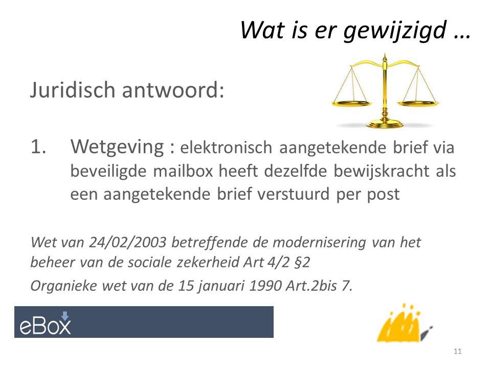 Wat is er gewijzigd … Juridisch antwoord: 1.Wetgeving : elektronisch aangetekende brief via beveiligde mailbox heeft dezelfde bewijskracht als een aangetekende brief verstuurd per post Wet van 24/02/2003 betreffende de modernisering van het beheer van de sociale zekerheid Art 4/2 §2 Organieke wet van de 15 januari 1990 Art.2bis 7.
