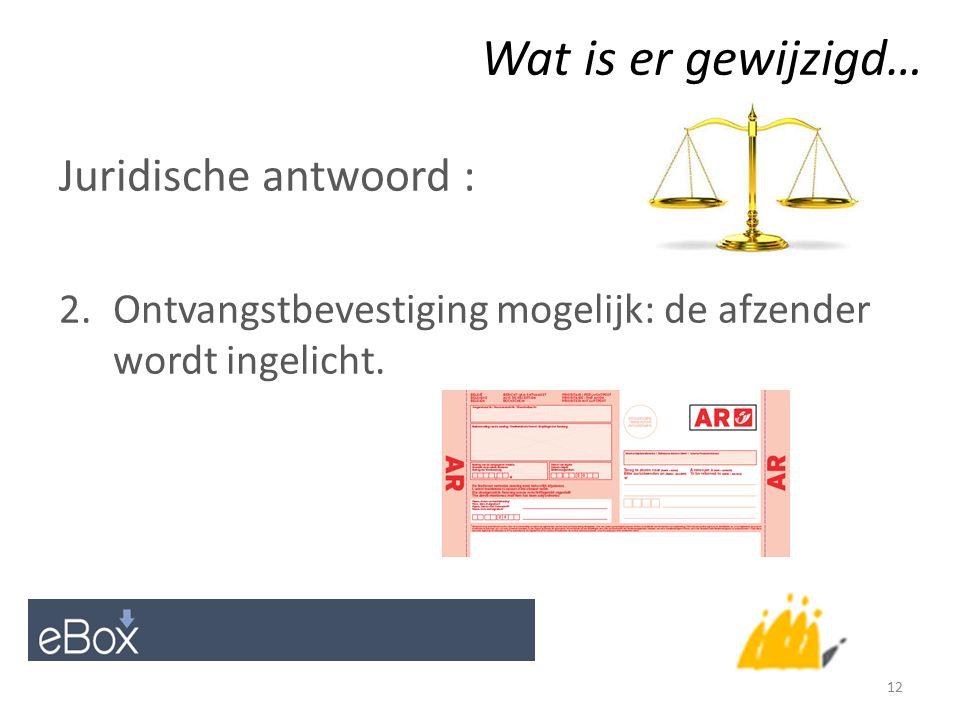 Wat is er gewijzigd… Juridische antwoord : 2.Ontvangstbevestiging mogelijk: de afzender wordt ingelicht.