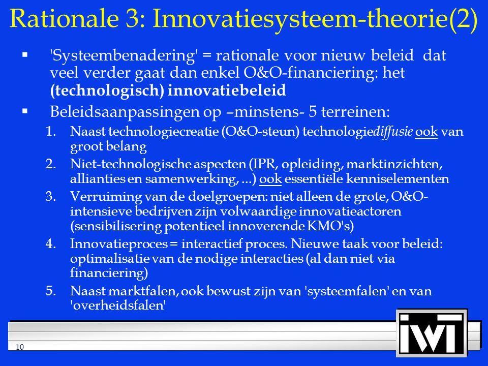 10 Rationale 3: Innovatiesysteem-theorie(2)  Systeembenadering = rationale voor nieuw beleid dat veel verder gaat dan enkel O&O-financiering: het (technologisch) innovatiebeleid  Beleidsaanpassingen op –minstens- 5 terreinen: 1.Naast technologiecreatie (O&O-steun) technologie diffusie ook van groot belang 2.Niet-technologische aspecten (IPR, opleiding, marktinzichten, allianties en samenwerking,...) ook essentiële kenniselementen 3.Verruiming van de doelgroepen: niet alleen de grote, O&O- intensieve bedrijven zijn volwaardige innovatieactoren (sensibilisering potentieel innoverende KMO s) 4.Innovatieproces = interactief proces.