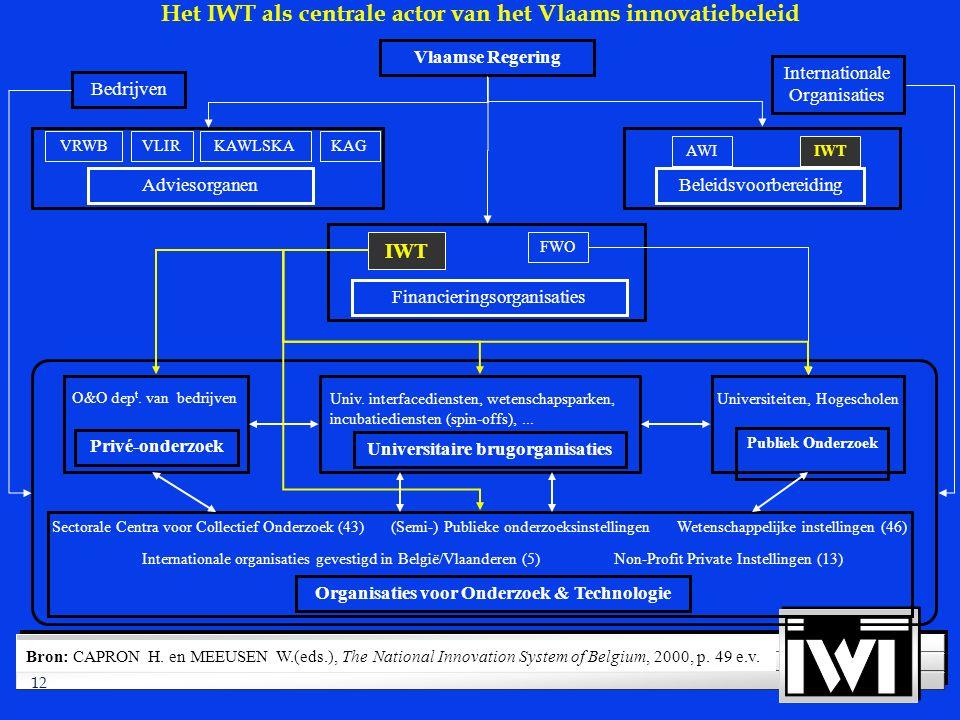 12 Bedrijven Internationale Organisaties Vlaamse Regering Adviesorganen KAGKAWLSKAVLIRVRWB IWT AWI Beleidsvoorbereiding (Semi-) Publieke onderzoeksinstellingenSectorale Centra voor Collectief Onderzoek (43) Internationale organisaties gevestigd in België/Vlaanderen (5) Wetenschappelijke instellingen (46) Non-Profit Private Instellingen (13) Organisaties voor Onderzoek & Technologie O&O dep t.