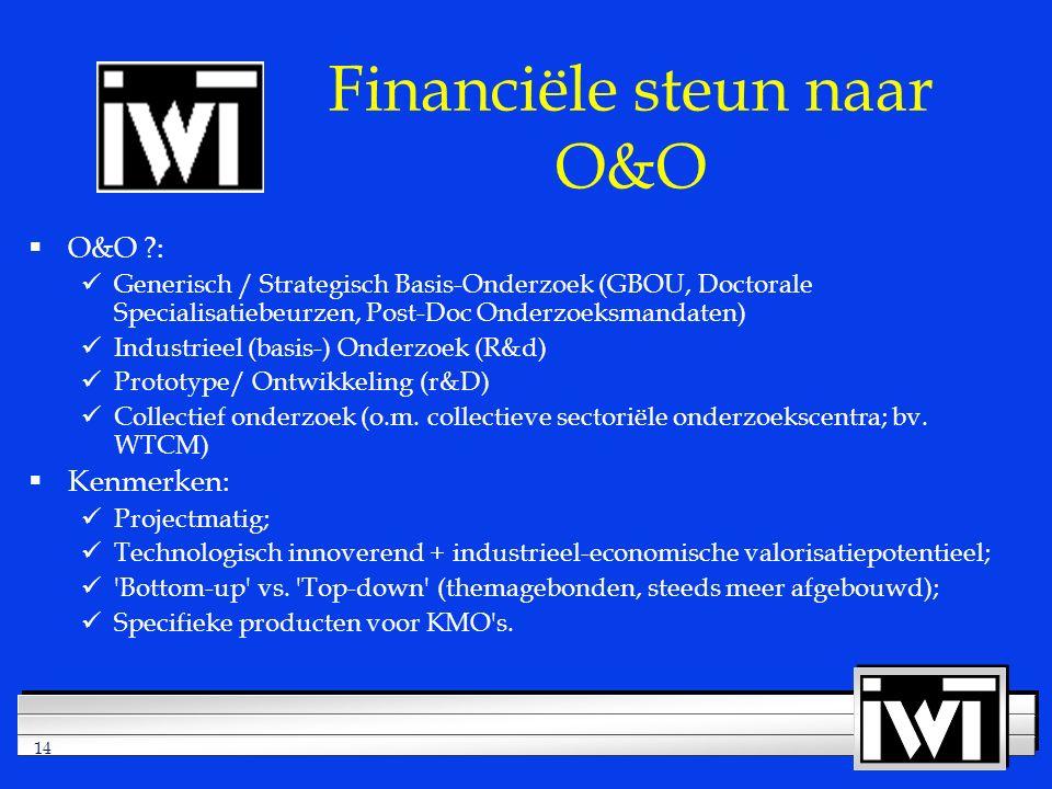 14 Financiële steun naar O&O  O&O : Generisch / Strategisch Basis-Onderzoek (GBOU, Doctorale Specialisatiebeurzen, Post-Doc Onderzoeksmandaten) Industrieel (basis-) Onderzoek (R&d) Prototype/ Ontwikkeling (r&D) Collectief onderzoek (o.m.