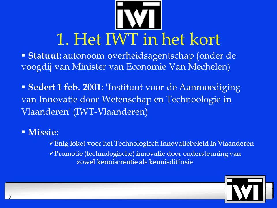 3  Statuut: autonoom overheidsagentschap (onder de voogdij van Minister van Economie Van Mechelen)  Sedert 1 feb.