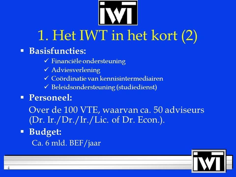 4  Basisfuncties: Financiële ondersteuning Adviesverlening Coördinatie van kennisintermediairen Beleidsondersteuning (studiedienst)  Personeel: Over de 100 VTE, waarvan ca.