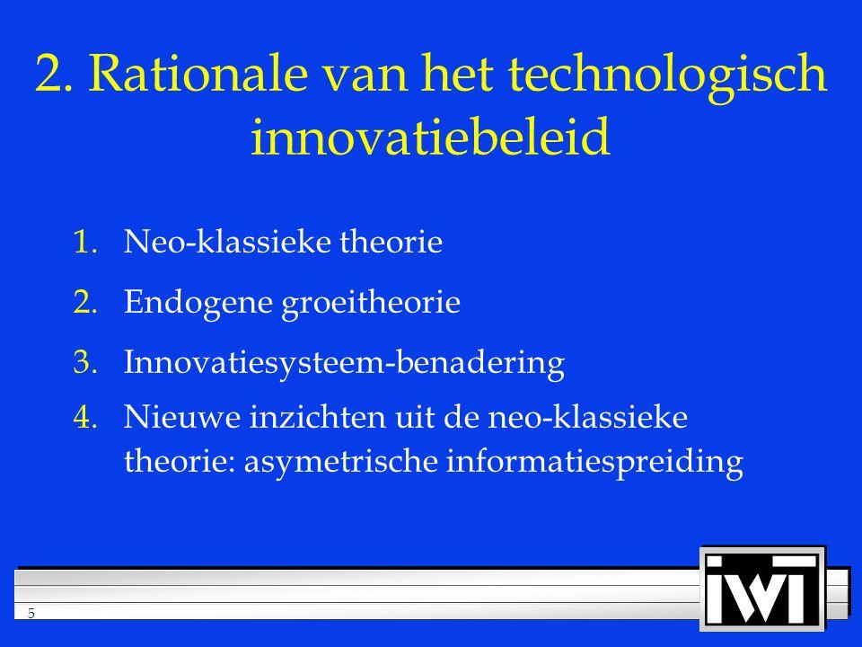 5 2. Rationale van het technologisch innovatiebeleid 1.Neo-klassieke theorie 2.Endogene groeitheorie 3.Innovatiesysteem-benadering 4.Nieuwe inzichten