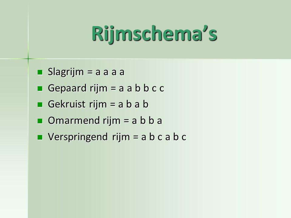 Rijmschema's Slagrijm = a a a a Slagrijm = a a a a Gepaard rijm = a a b b c c Gepaard rijm = a a b b c c Gekruist rijm = a b a b Gekruist rijm = a b a