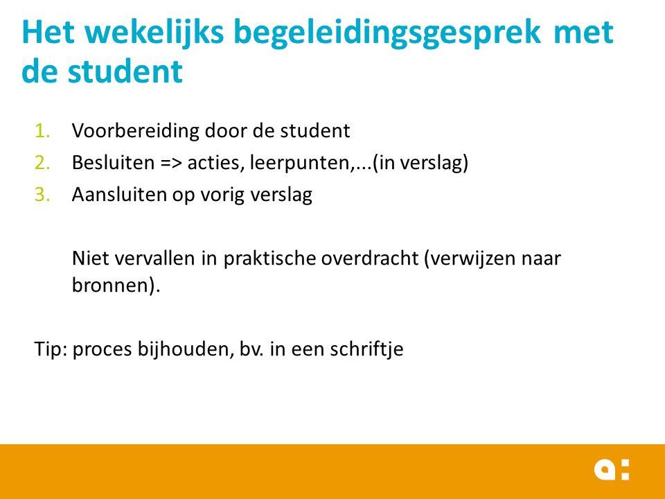 Het wekelijks begeleidingsgesprek met de student 1.Voorbereiding door de student 2.Besluiten => acties, leerpunten,...(in verslag) 3.Aansluiten op vorig verslag Niet vervallen in praktische overdracht (verwijzen naar bronnen).