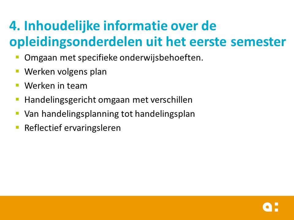 4. Inhoudelijke informatie over de opleidingsonderdelen uit het eerste semester  Omgaan met specifieke onderwijsbehoeften.  Werken volgens plan  We