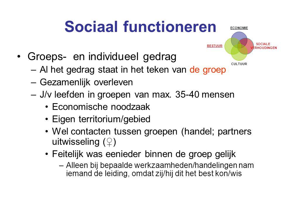 Sociaal functioneren Groeps- en individueel gedrag –Al het gedrag staat in het teken van de groep –Gezamenlijk overleven –J/v leefden in groepen van max.