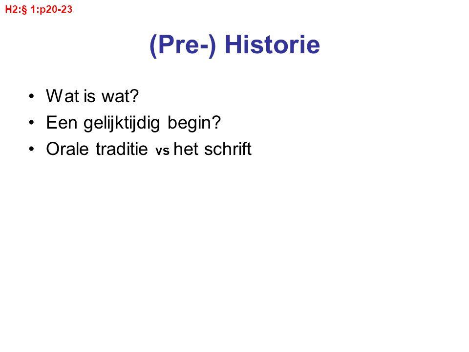 (Pre-) Historie Wat is wat? Een gelijktijdig begin? Orale traditie vs het schrift H2:§ 1:p20-23