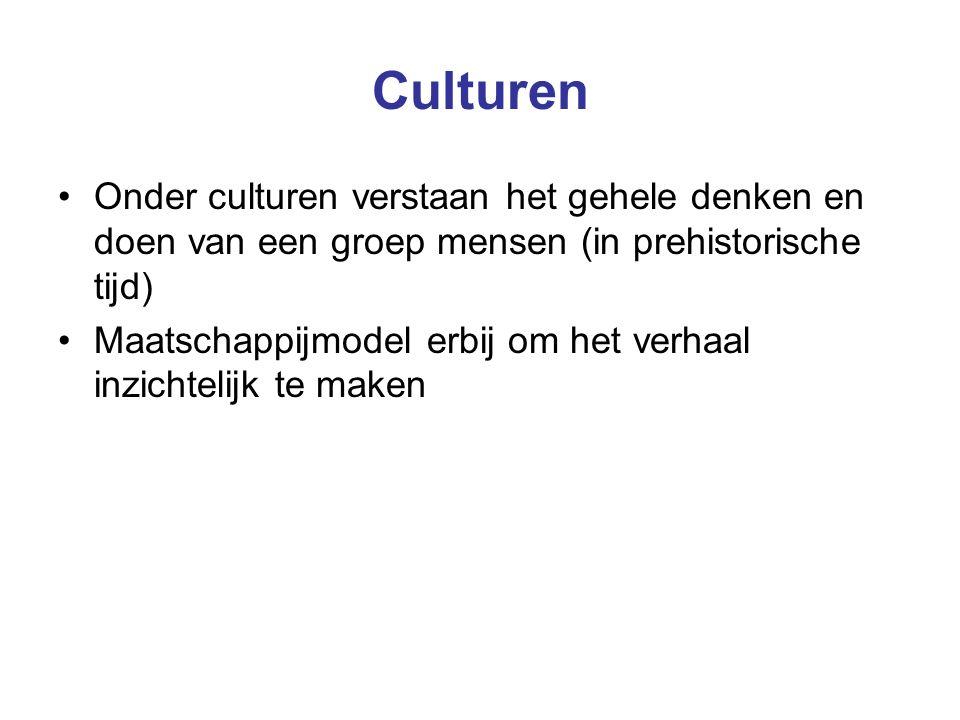 Culturen Onder culturen verstaan het gehele denken en doen van een groep mensen (in prehistorische tijd) Maatschappijmodel erbij om het verhaal inzichtelijk te maken