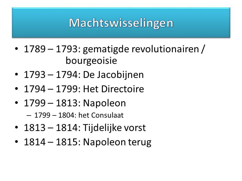 1789 – 1793: gematigde revolutionairen / bourgeoisie 1793 – 1794: De Jacobijnen 1794 – 1799: Het Directoire 1799 – 1813: Napoleon – 1799 – 1804: het C