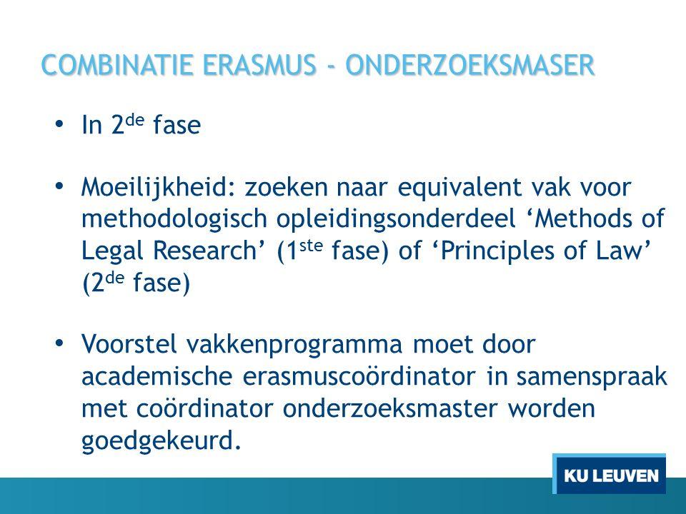 COMBINATIE ERASMUS - ONDERZOEKSMASER In 2 de fase Moeilijkheid: zoeken naar equivalent vak voor methodologisch opleidingsonderdeel 'Methods of Legal R