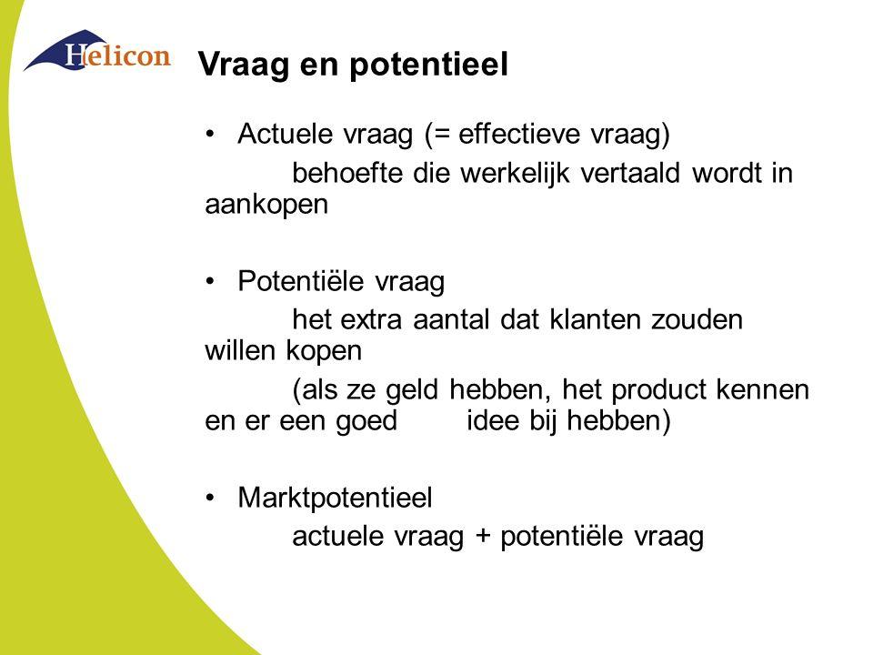 Vraag en potentieel Actuele vraag (= effectieve vraag) behoefte die werkelijk vertaald wordt in aankopen Potentiële vraag het extra aantal dat klanten zouden willen kopen (als ze geld hebben, het product kennen en er een goed idee bij hebben) Marktpotentieel actuele vraag + potentiële vraag