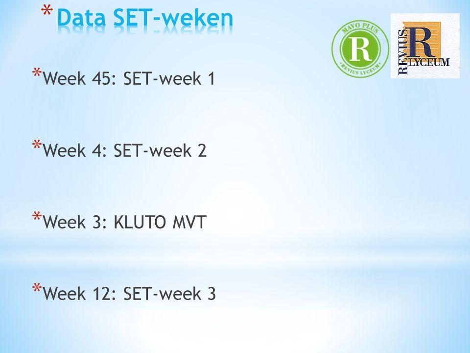 * Week 45: SET-week 1 * Week 4: SET-week 2 * Week 3: KLUTO MVT * Week 12: SET-week 3