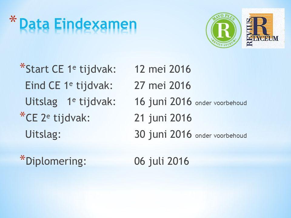 * Start CE 1 e tijdvak: 12 mei 2016 Eind CE 1 e tijdvak: 27 mei 2016 Uitslag 1 e tijdvak: 16 juni 2016 onder voorbehoud * CE 2 e tijdvak: 21 juni 2016