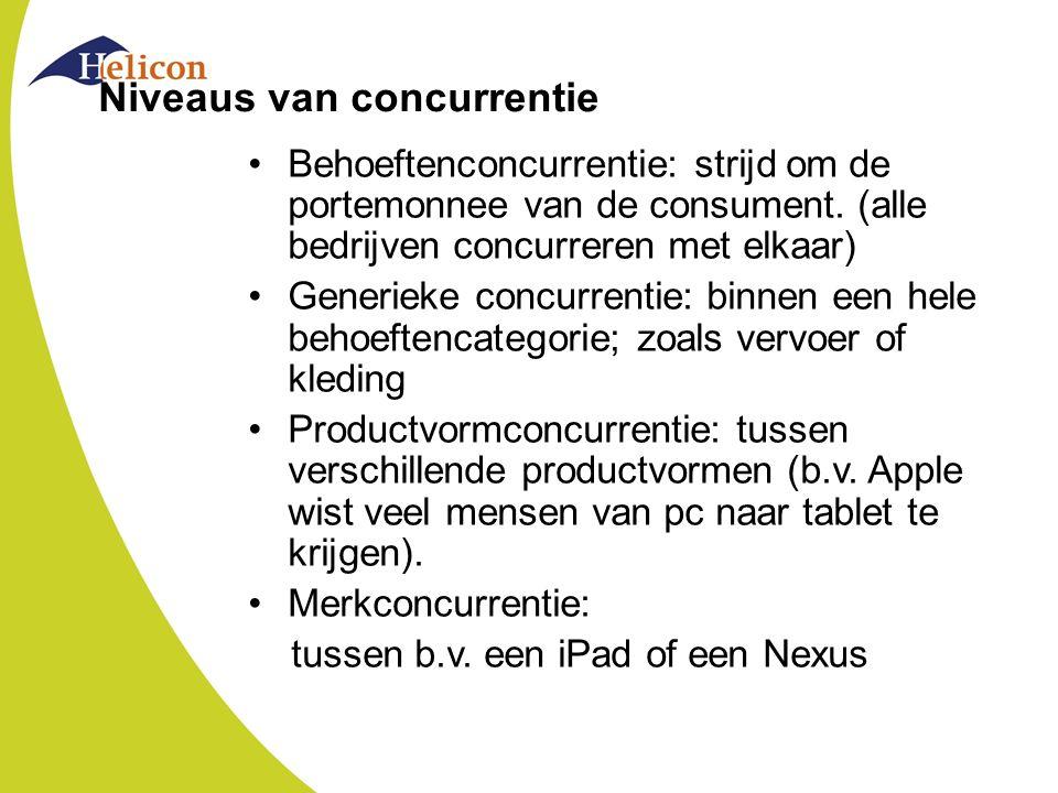 Niveaus van concurrentie Behoeftenconcurrentie: strijd om de portemonnee van de consument. (alle bedrijven concurreren met elkaar) Generieke concurren