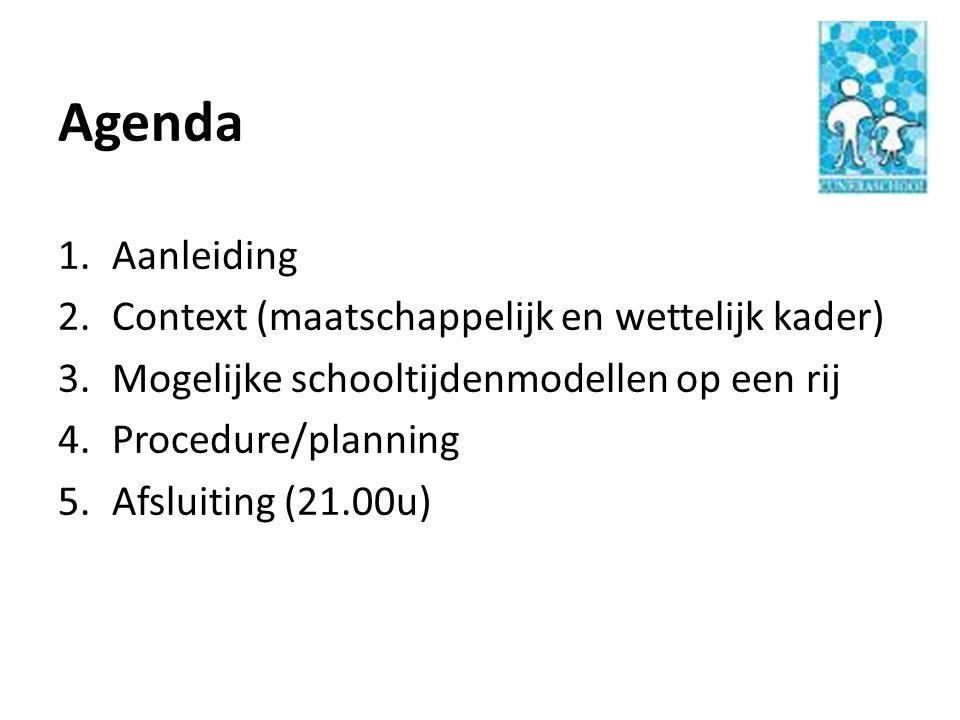 Agenda 1.Aanleiding 2.Context (maatschappelijk en wettelijk kader) 3.Mogelijke schooltijdenmodellen op een rij 4.Procedure/planning 5.Afsluiting (21.0