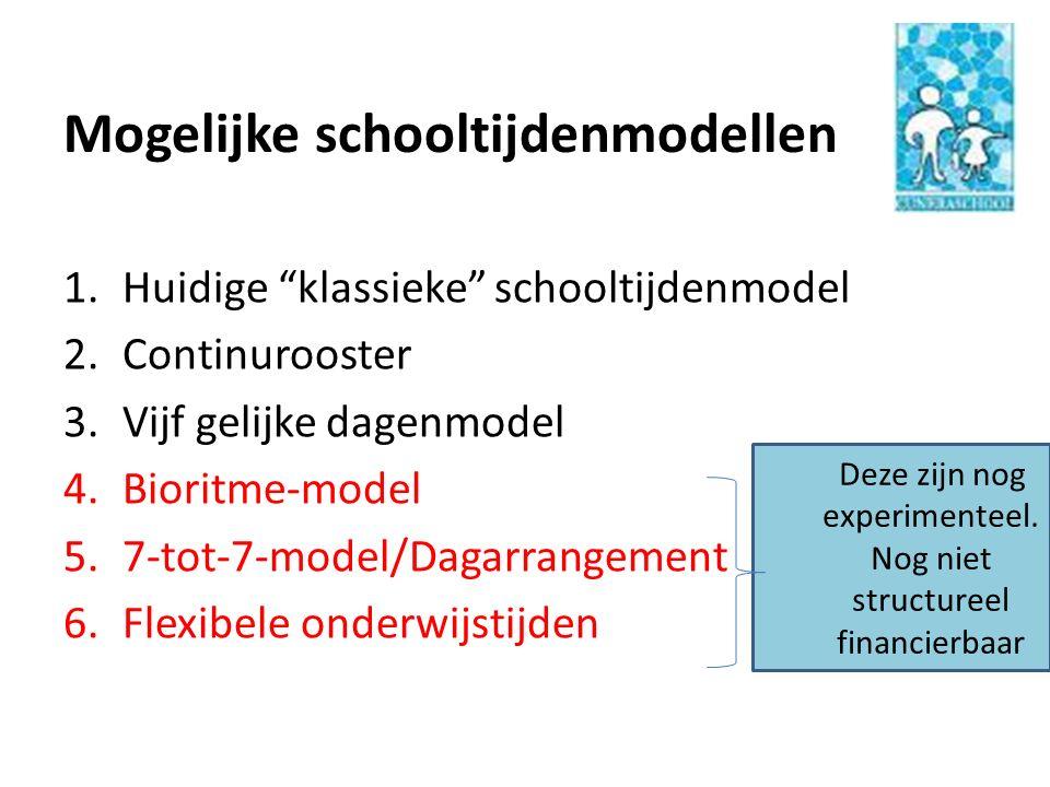 """Mogelijke schooltijdenmodellen 1.Huidige """"klassieke"""" schooltijdenmodel 2.Continurooster 3.Vijf gelijke dagenmodel 4.Bioritme-model 5.7-tot-7-model/Dag"""